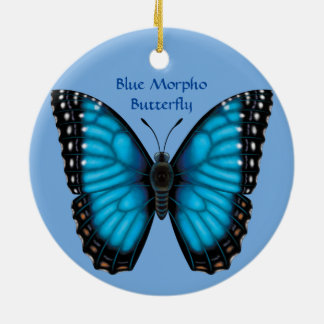 Blue Morpho Butterfly, Dorsal and Ventral Ceramic Ornament