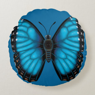 Blue Morpho Butterfly Dorsal and Ventral Round Cushion