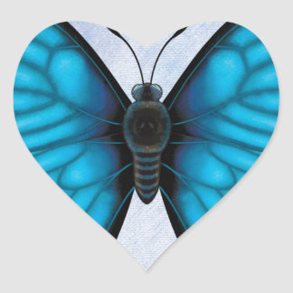 Blue Morpho Butterfly Heart Sticker