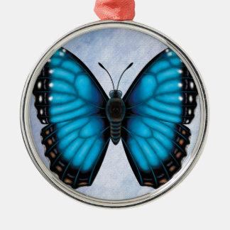 Blue Morpho Butterfly Metal Ornament
