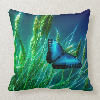 Blue Morpho Butterfly on Green Grass Cushion