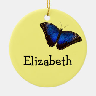 Blue Morpho Butterfly personalized Ceramic Ornament