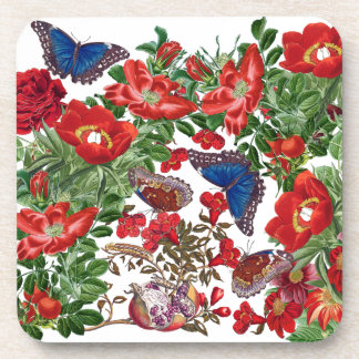 Blue Morpho Butterfly Rose Flowers Animals Coaster
