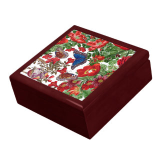 Blue Morpho Butterfly Rose Flowers Floral Gift Box