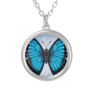 Blue Morpho Butterfly Silver Plated Necklace