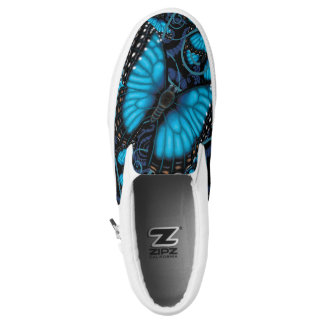 Blue Morpho Butterfly Slip On Shoes