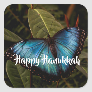 Blue Morpho, Happy Hanukkah Square Sticker