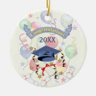 Blue Mortar and Diploma Graduation Round Ceramic Decoration