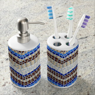 Blue Mosaic Bath Set