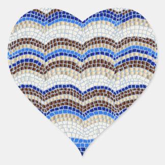 Blue Mosaic Glossy Heart Sticker
