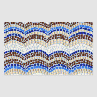 Blue Mosaic Glossy Rectangle Sticker