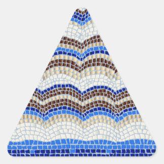 Blue Mosaic Glossy Triangle Sticker