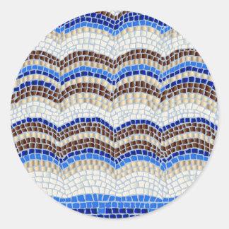 Blue Mosaic Large Matte Round Sticker