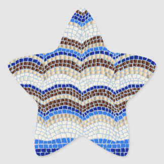 Blue Mosaic Matte Star Sticker