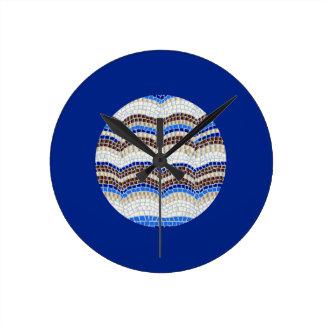 Blue Mosaic Medium Round Wall Clock