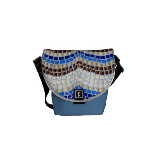 Blue Mosaic Mini Messenger Bag