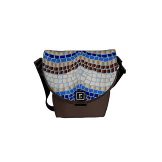 Blue Mosaic Mini Messenger Bag