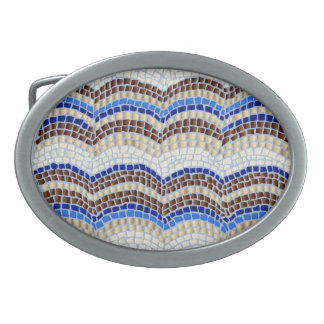 Blue Mosaic Oval Belt Buckle