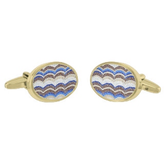 Blue Mosaic Oval Cufflinks Gold Finish Cuff Links
