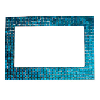 Blue mosaic pattern photo frame magnets