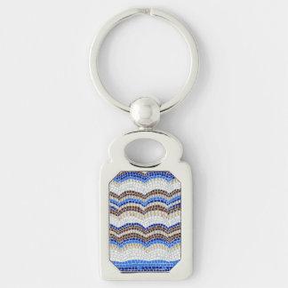 Blue Mosaic Rectangle Metal Keychain