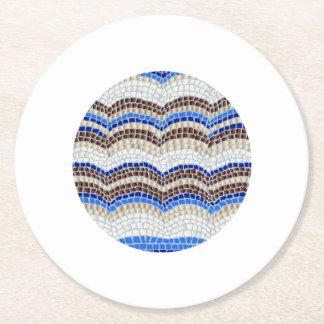 Blue Mosaic Round Paper Coaster