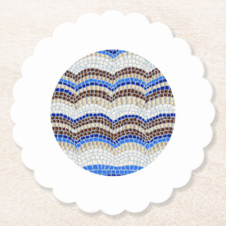 Blue Mosaic Scalloped Round Paper Coaster