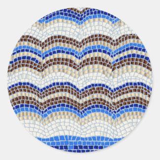 Blue Mosaic Small Matte Round Sticker