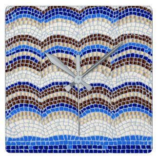 Blue Mosaic Square Wall Clock