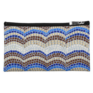 Blue Mosaic Sueded Medium Cosmetic Bag