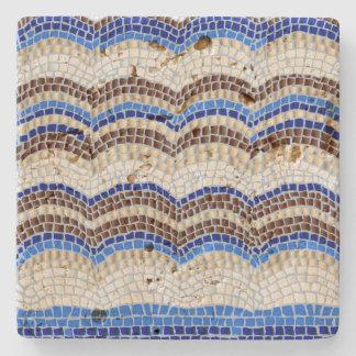 Blue Mosaic Travertine Stone Coaster