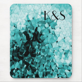 Blue Mosaic With Your Company Logo Initials Mouse Pad