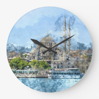 Blue Mosque in Istanbul Turkey Large Clock