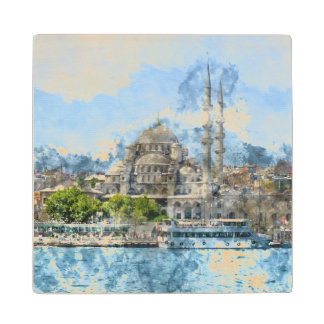 Blue Mosque in Istanbul Turkey Maple Wood Coaster