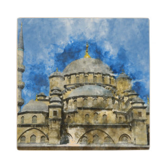 Blue Mosque in Istanbul Turkey Wood Coaster