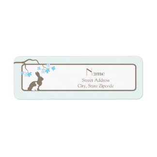 Blue Mother and Baby Bunny Address Label