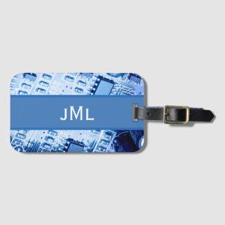 Blue Motherboard Modern Pattern Luggage Tag