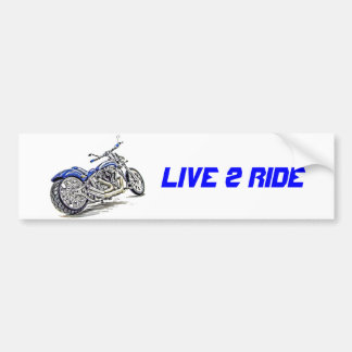 Blue Motorcycle HDR Bumper Sticker