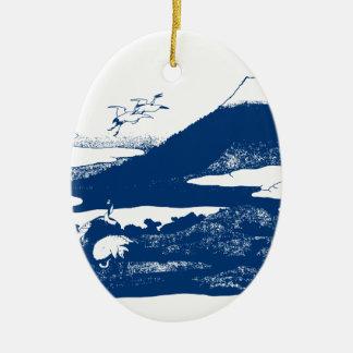 Blue Mount Fuji Ceramic Ornament