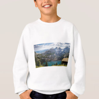 Blue mountain lake  oeschinen pond in nature sweatshirt