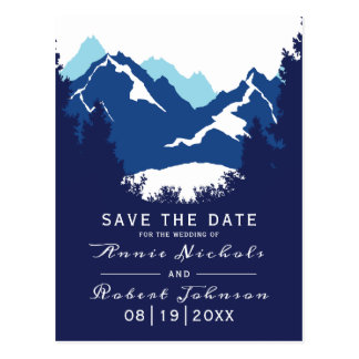 Blue mountain winter wedding Save the Date Postcard