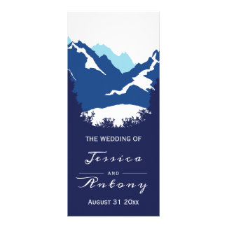 Blue mountains and conifer trees wedding program rack card