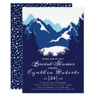 Blue mountains and conifers wedding bridal shower card