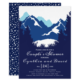 Blue mountains and conifers wedding couples shower card