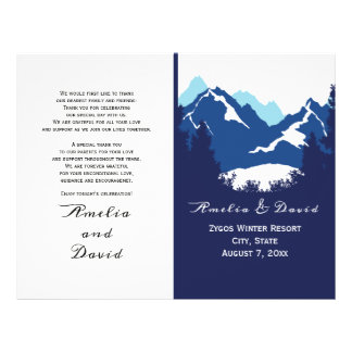 Blue mountains and conifes folded wedding program flyer