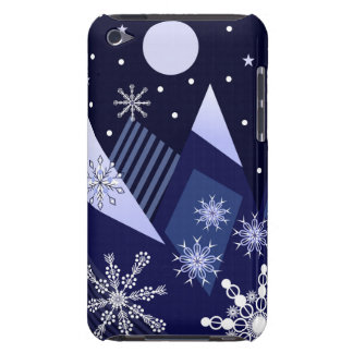 Blue mountains and decorative snowflakes iPod touch cover