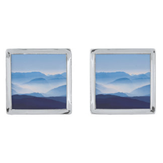 Blue Mountains Landscape Scene Silver Finish Cufflinks