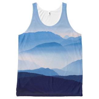 Blue Mountains Meditative Relaxing Landscape Scene All-Over Print Singlet