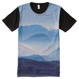Blue Mountains Meditative Relaxing Landscape Scene All-Over Print T-Shirt