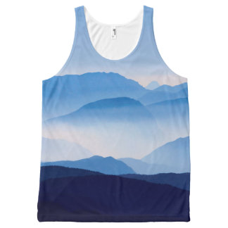 Blue Mountains Meditative Relaxing Landscape Scene All-Over Print Tank Top